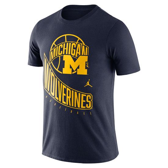 Jordan University of Michigan Basketball Navy Retro Logo Tee
