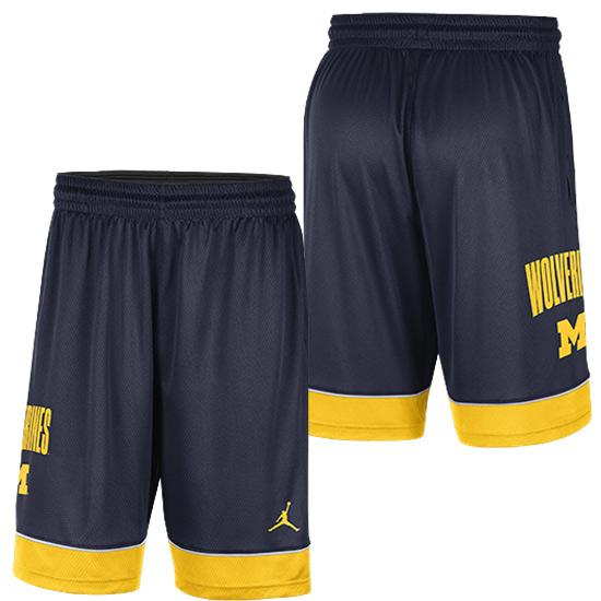 Jordan University of Michigan Basketball Navy Fast Break Shorts