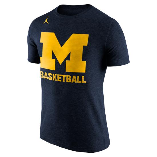 Jordan University of Michigan Basketball ''Hand Drawn'' Navy Triblend Tee
