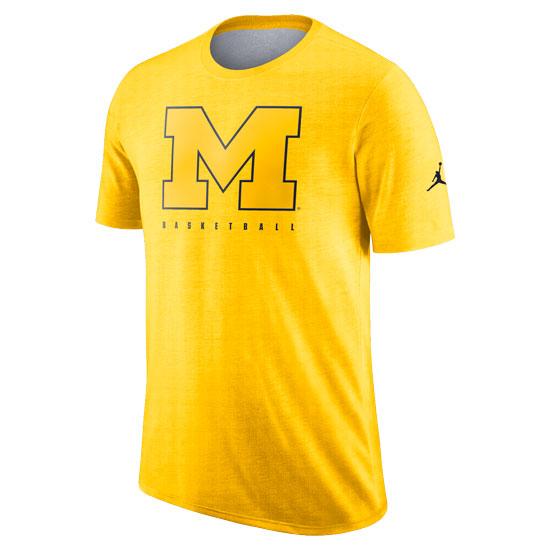 Jordan University of Michigan Basketball Maize Player Dri-FIT Cotton Slub Tee