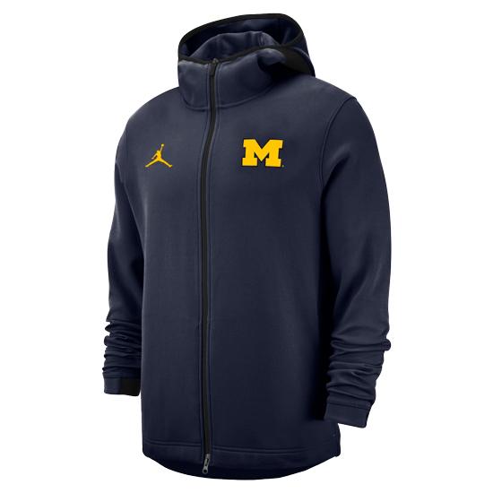 Jordan University of Michigan Basketball Navy Showtime Full Zip Hooded Sweatshirt