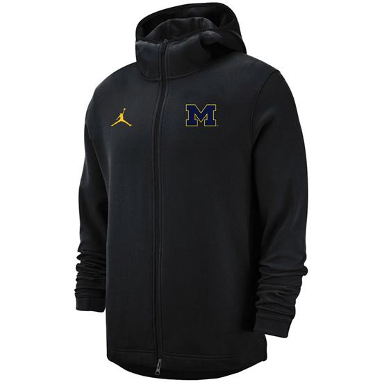Jordan University of Michigan Basketball Black Heat Showtime Full Zip Hooded Sweatshirt