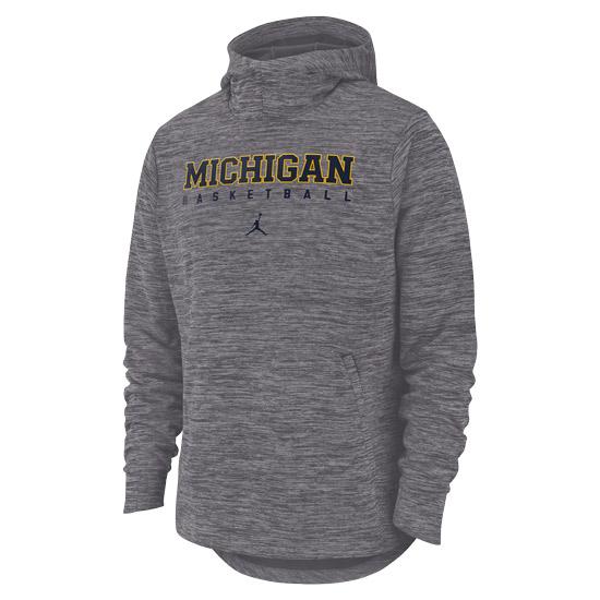 Jordan University of Michigan Basketball Dark Steel Gray Spotlight Dri-FIT Hooded Sweatshirt