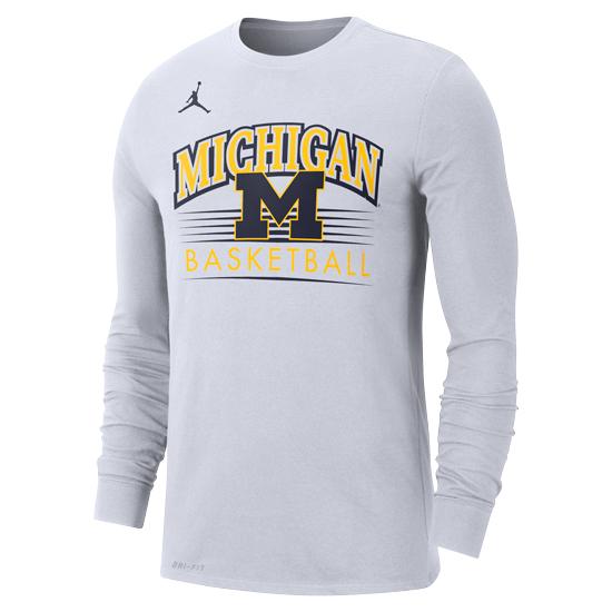 Jordan University of Michigan Basketball White Long Sleeve Dri-FIT Cotton Tee