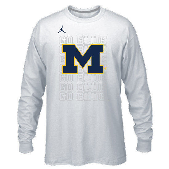 Bench University Of Dri-fit Tee Tournament White Sleeve Michigan Basketball Jordan Long