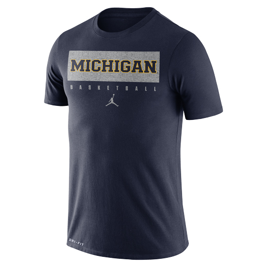 Jordan University of Michigan Basketball Navy Dri-FIT Legend Practice Tee