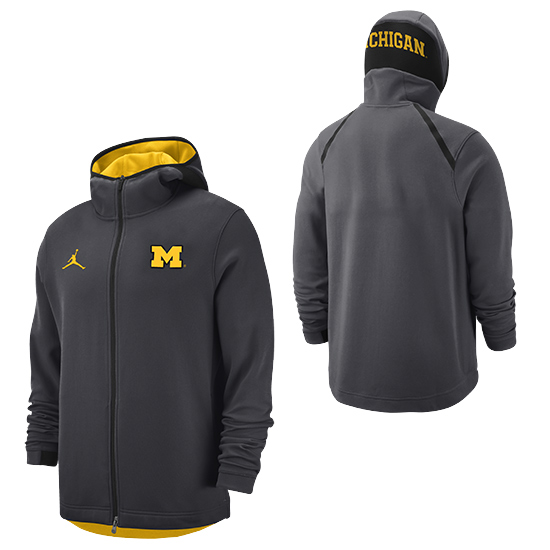 Jordan University of Michigan Basketball Anthracite Showtime Full-Zip Hooded Sweatshirt