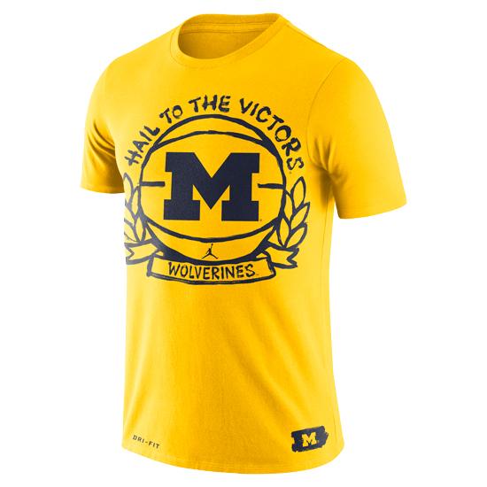 Jordan University of Michigan Basketball Maize Crest Dri-FIT Cotton Tee