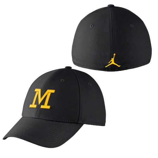 newest collection d1fde 857ca Jordan University of Michigan Football Navy Head Coaches Dri-FIT Flex Fit  Hat