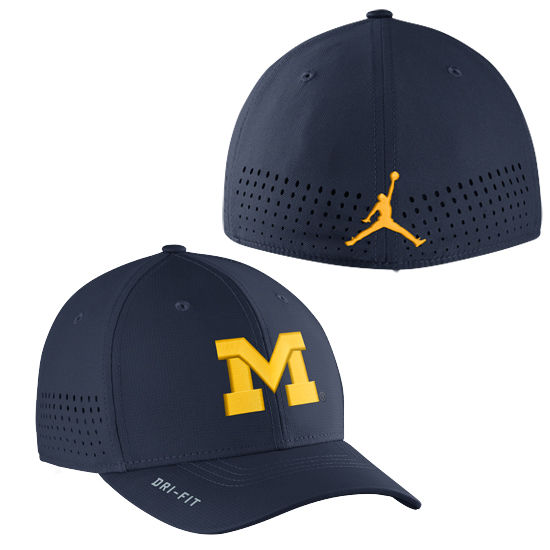a8e555515 Jordan University of Michigan Football Navy Vapor Sideline Dri-FIT Flex Hat