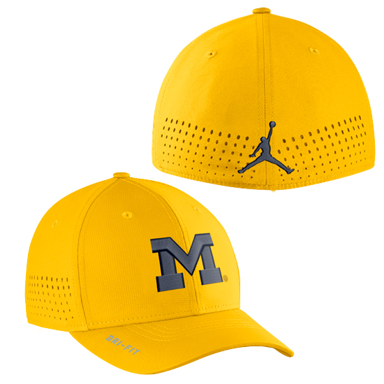 Jordan University of Michigan Football Yellow Vapor Sideline Dri-FIT One Size Flex Fit Hat