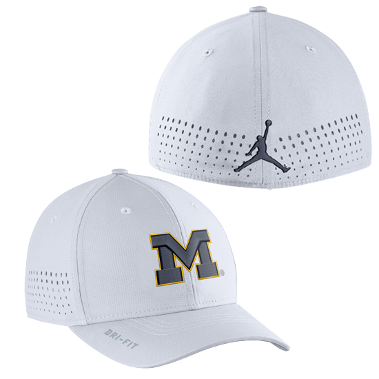 Jordan University of Michigan Football White Vapor Sideline Dri-FIT One Size Flex Fit Hat