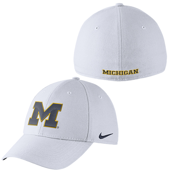 af9d6142a99 Nike University of Michigan White Classic99 Dri-FIT Swoosh Flex Hat