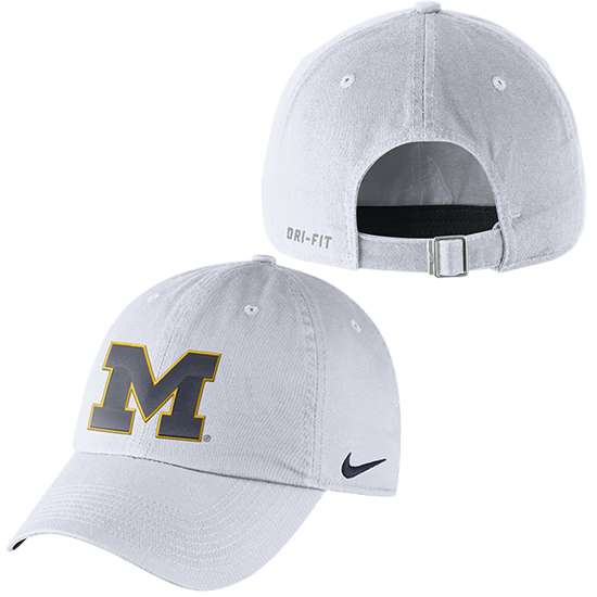 Nike University of Michigan White Heritage86 Unstructured Authentic Dri-FIT Hat