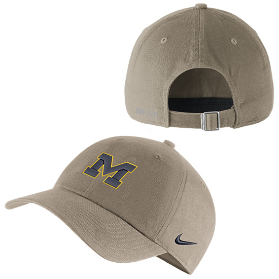 4d0214f4ce1c84 Nike University of Michigan Khaki Heritage86 Unstructured Authentic Dri-FIT  Hat