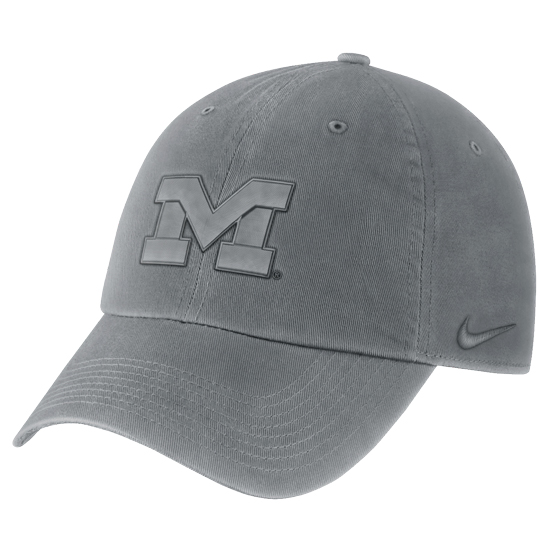 1c3571c1a3af37 Nike University of Michigan Gray Pigment Washed Heritage86 Unstructured Hat