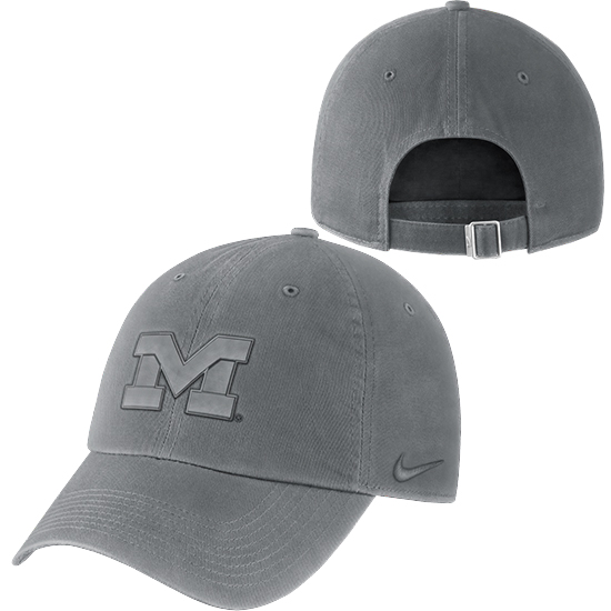 Nike University of Michigan Gray Pigment Washed Heritage86 Unstructured Hat