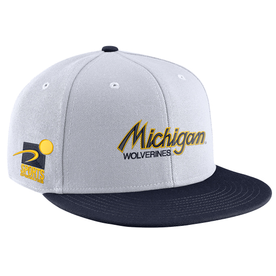 d9a65fed1 Nike University of Michigan White Sport Specialties Throwback Flat ...