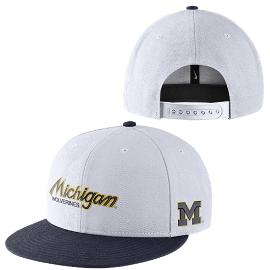 Nike University of Michigan White Sport Specialties Throwback Flat Brim Snap Back Hat