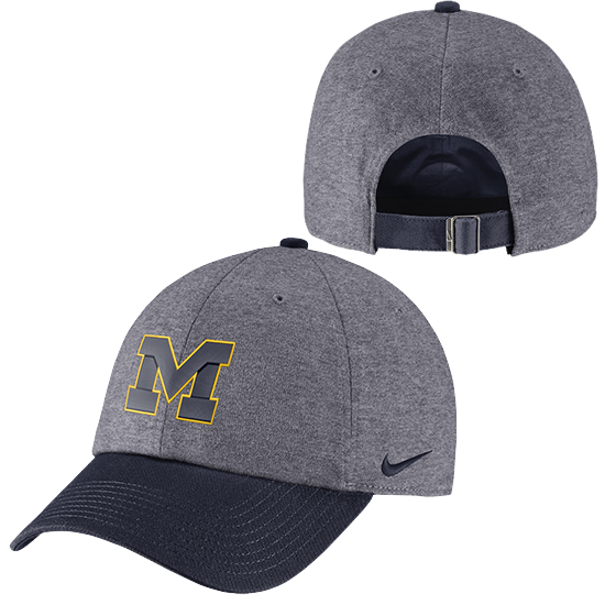 Nike University of Michigan Charcoal Heather Gray/ Navy Heritage86 Unstructured Hat