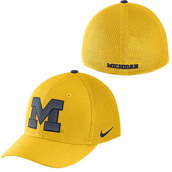 Nike University of Michigan Maize AeroBill Classic99 Dri-FIT SwooshFlex Structured Hat