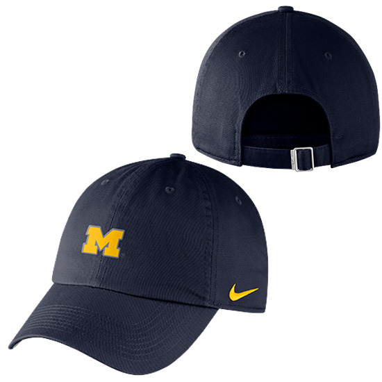 Nike University of Michigan Navy Heritage86 Small Block ''M'' Unstructured Hat