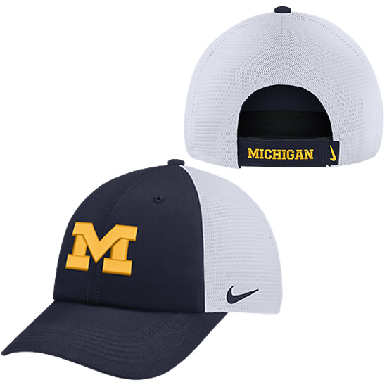 Nike University of Michigan Navy Heritage86 Dri-FIT Meshback Unstructured Hat