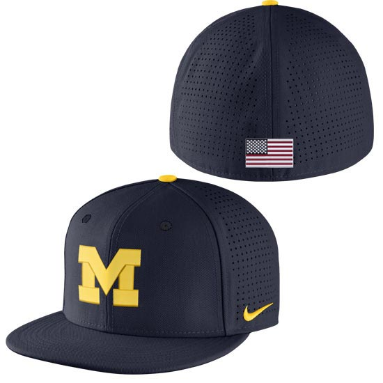 Nike University of Michigan Baseball Navy On-Field True Vapor Dri-FIT Fitted Hat