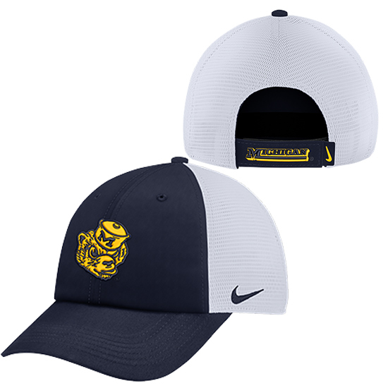 Nike University of Michigan Navy College Vault Wolverine Heritage86 Meshback Slouch Hat