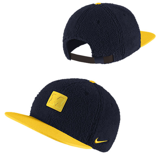 Nike University of Michigan Pro Navy Sherpa Knit Flat Brim Structured Hat