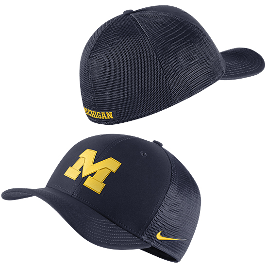 Nike University of Michigan Navy Classic99 Block ''M'' Dri-FIT Meshback Swoosh Flex