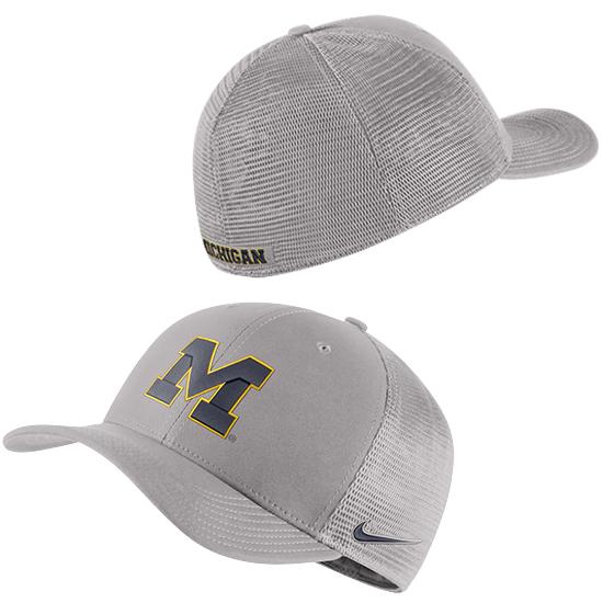 Nike University of Michigan Pewter Gray Classic99 Block ''M'' Dri-FIT Meshback Swoosh Flex
