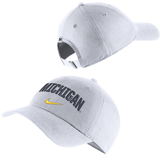 Nike University of Michigan White Heritage86 Arched Michigan Unstructured Hat