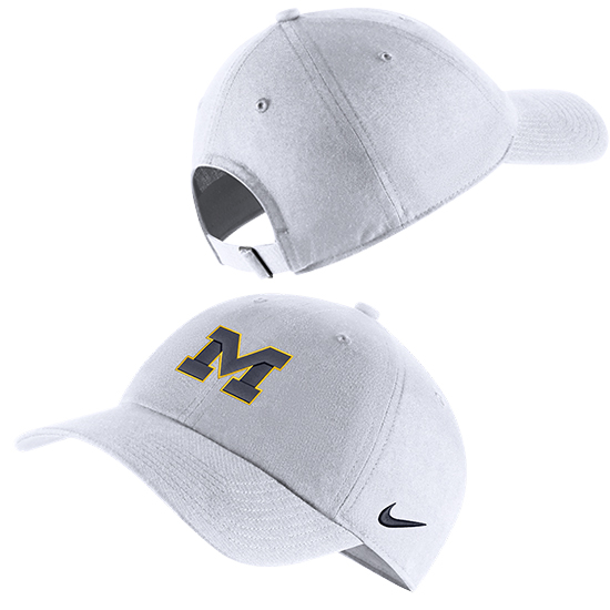 Nike University of Michigan White Heritage86 Block ''M'' Unstructured Hat