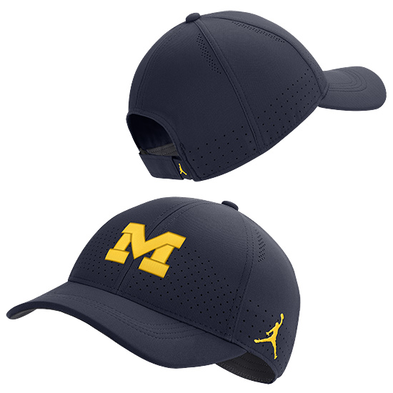 Jordan University of Michigan Football Navy Legacy91 Sideline Slouch Hat