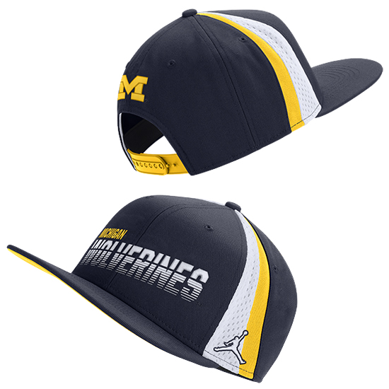 Jordan University of Michigan Football Pro Flat Brim Snapback Hat