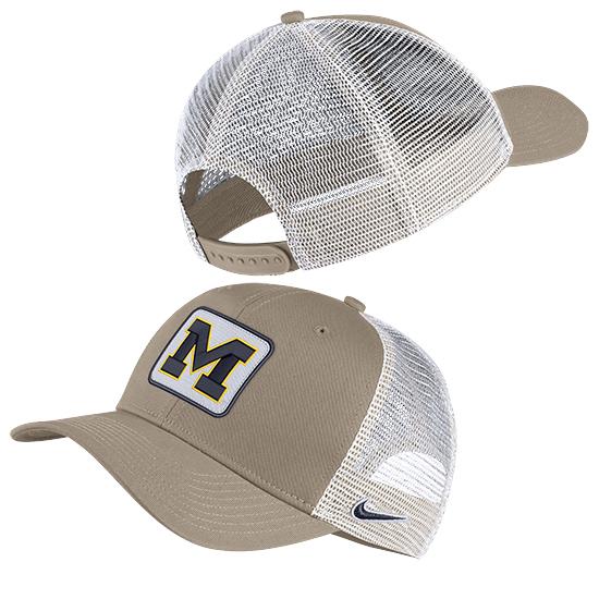 Nike University of Michigan Khaki/White Classic99 Meshback Snapback Trucker Hat