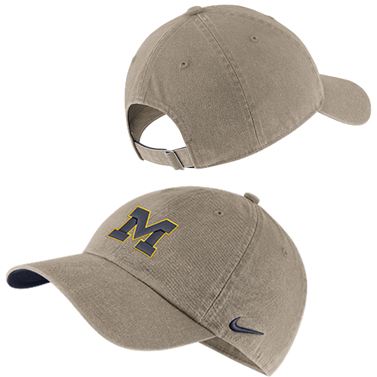 Nike University of Michigan Washed Khaki Heritage86 Small Block ''M'' Logo Unstructured Hat