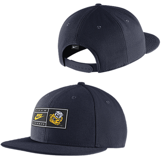 Nike University of Michigan Navy College Vault Wolverine Retro Nike Pro Nylon Snap Back Hat
