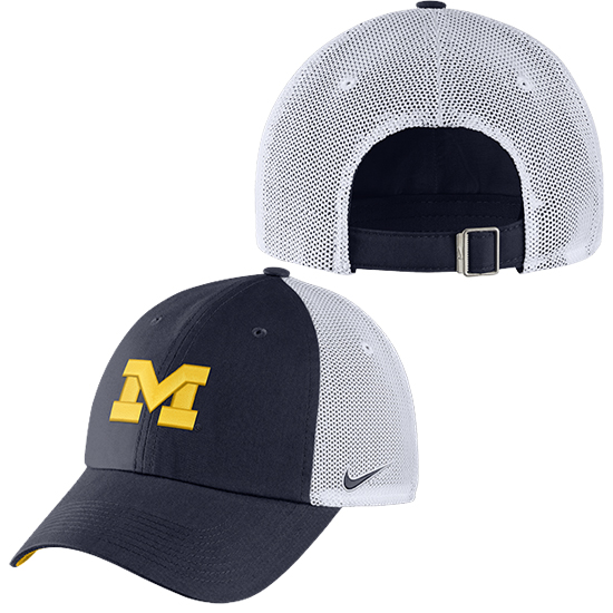 Nike University of Michigan Navy/ White Heritage86 Unstructured Meshback Trucker Hat