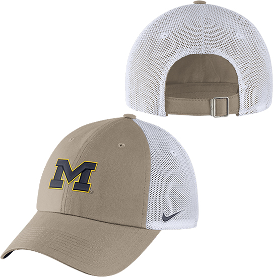 Nike University of Michigan Khaki/White Heritage86 Meshback Slouch Hat
