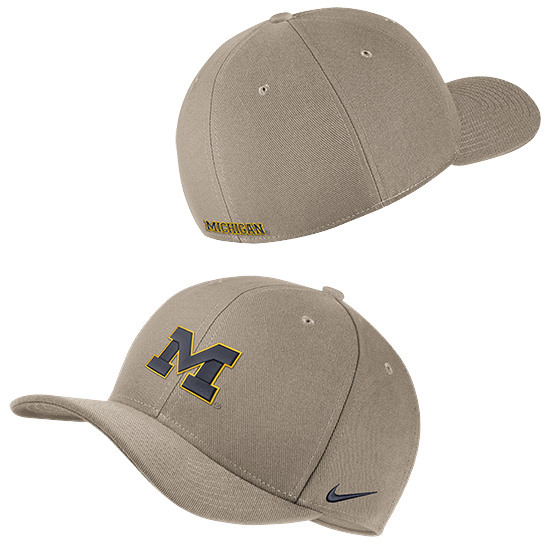 Nike University of Michigan Khaki Classic99 SwooshFLEX Hat