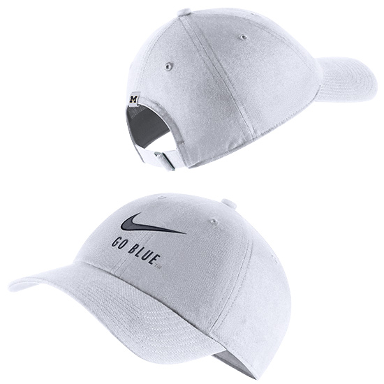 Nike University of Michigan White Heritage86  ''Go Blue'' Swoosh Slouch Hat