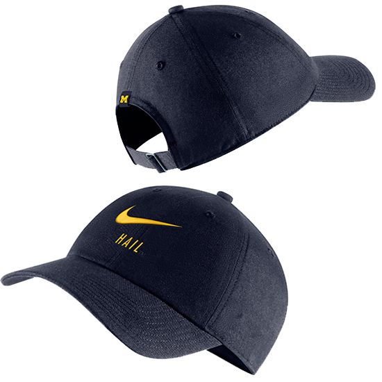Nike University of Michigan Navy Heritage86  ''HAIL'' Swoosh Slouch Hat