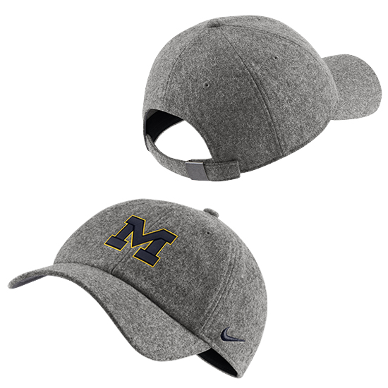 Nike University of Michigan Gray Wool Blend Heritage86 Unstructured Hat