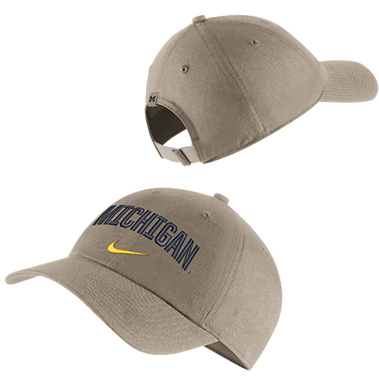 Nike University of Michigan Khaki Heritage86 Arched Michigan Unstructured Hat