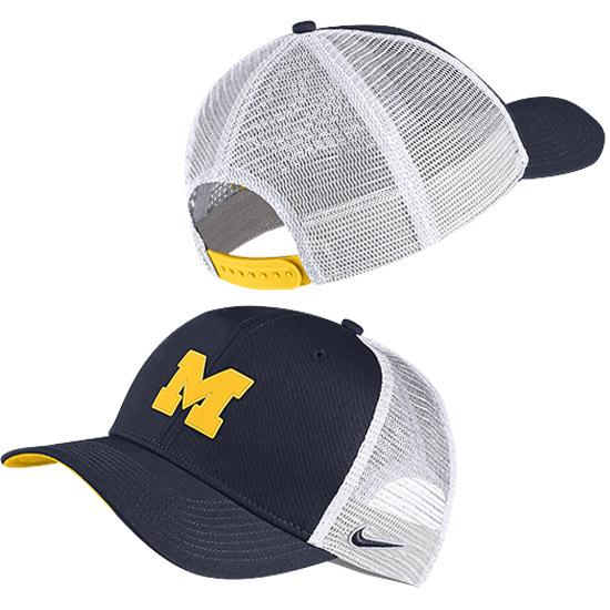 Nike University of Michigan Navy Meshback Classic99 Aerobill Snapback Trucker Hat