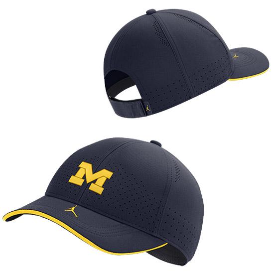 Jordan University of Michigan Football Navy Aerobill Adjustable Sideline Hat