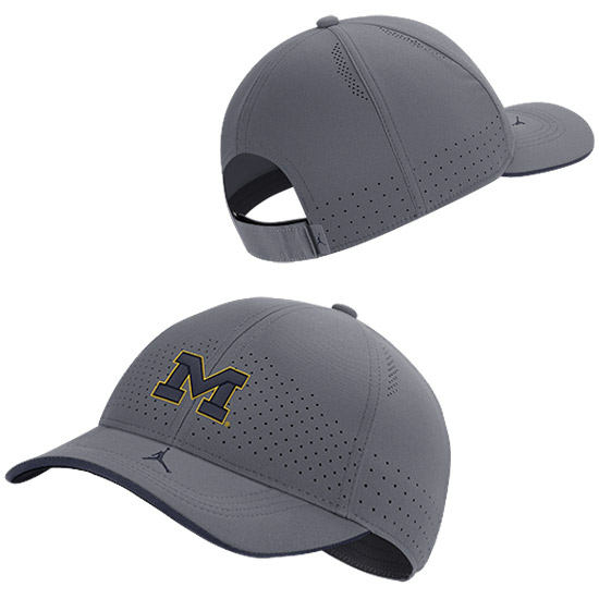 Jordan University of Michigan Football Gray Aerobill Adjustable Sideline Hat