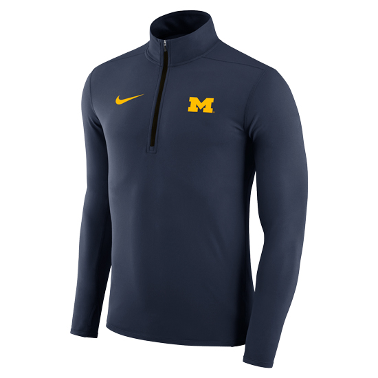 Nike University of Michigan Navy Dri-FIT Element 1/4 Zip Pullover